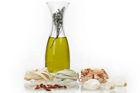 Tagliatte flavored with olive oil, red pepper and garlic
