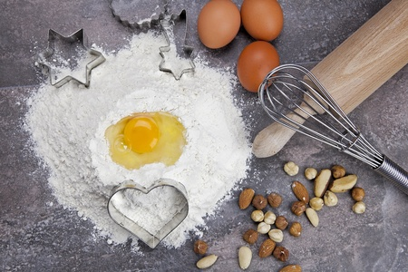 raw ingredients for preparing a dough for cookies Stock Photo - 10097984