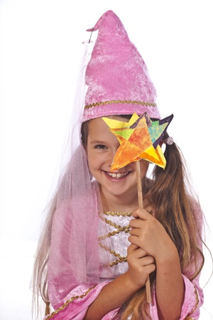 princess: eight year old girl in a costume dressed as a fairy
