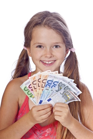 swiss franc note: eight year old girl counts her money