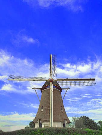 dutch typical: Typical Dutch corn-mill   Stock Photo