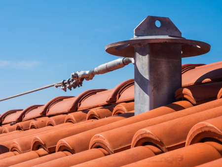 Roof anchor - Fall arrest system for secure access to the roof Stock Photo