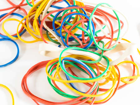rubber bands: Colorful rubber bands isolated on white Stock Photo