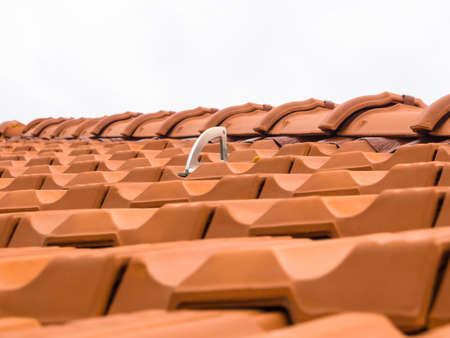 fall arrest: Roof anchor - Fall arrest system for secure access to the roof Stock Photo