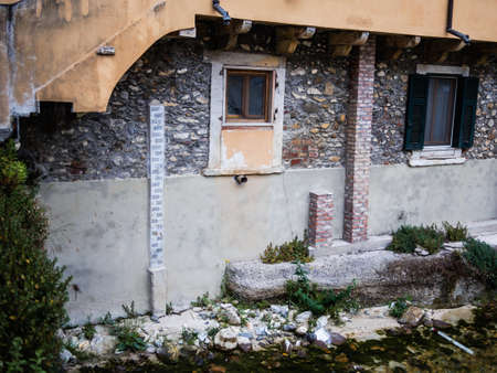 Auction to measure the level of the Carrione torrent stream in Carrara Archivio Fotografico