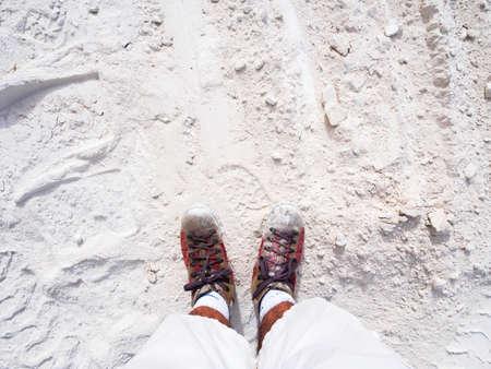 Spessore di due piedi su polvere di marmo bianco spessa Archivio Fotografico - 82097015