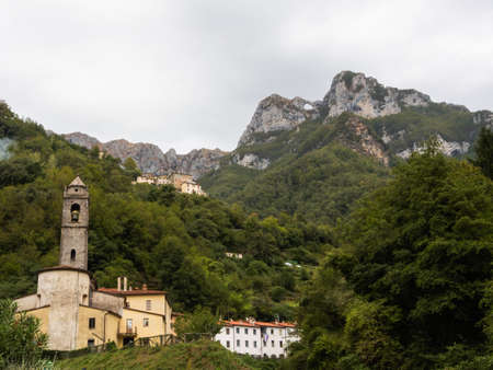 Typical landscape of Alta Versilia with the background of the Apuan Alps