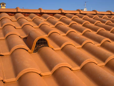 Ventilation mouth, with protection grid, with brick cover Archivio Fotografico - 107468518