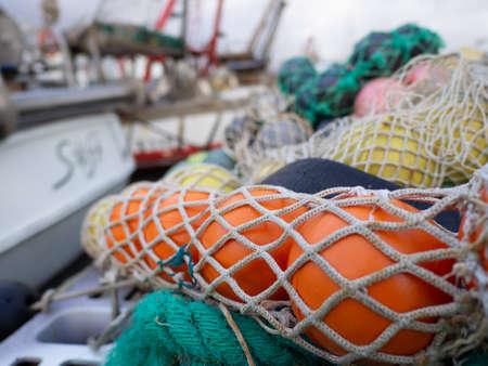 Fishing nets along the port quay Editoriali