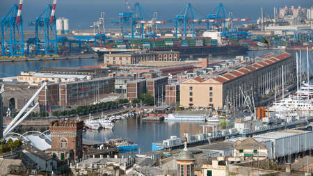 new infrastructure to replace the old port of Genoa Фото со стока