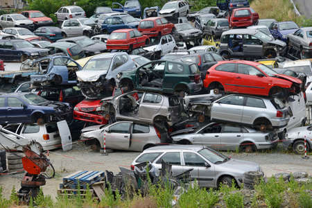 Cars that have finished their lives, are now massed for possible recycling in whole or in part of them