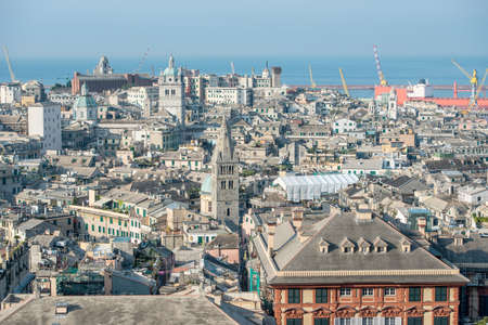top view of a part of the historic center of Genoa