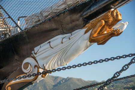 bowsprit: figurehead of a vintage sailing ship Editorial