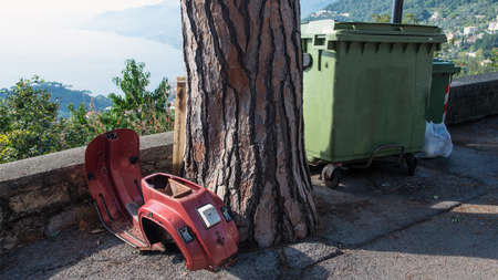 carcass abandoned scooter near a tree and a garbage bin photo