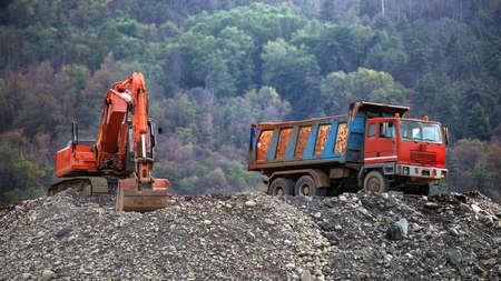bulldoze: trucks and bulldozers during a break at work