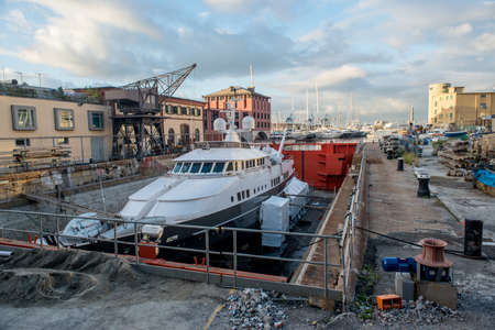 yacht to work in dry dock photo