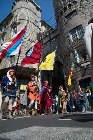republics: GENOA, ITALY - 8 JUNE 2014 - Unidentified people during the historical parade of the Maritime Republics Palio