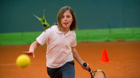 exemplary: Children at school during a dribble of tennis and nandayus nenday Stock Photo