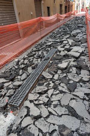 road paving: El trabajo en curso para rehacer la pavimentaci�n de carreteras