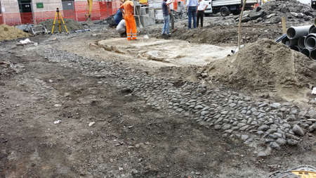 stone wash: Ancient cobbled surfaced during an excavation for road maintenance