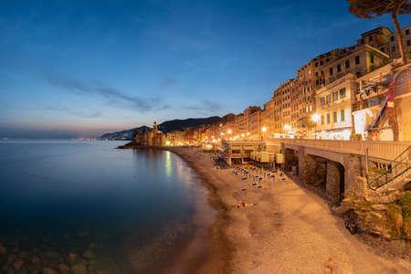 night view of Camogli and its beach