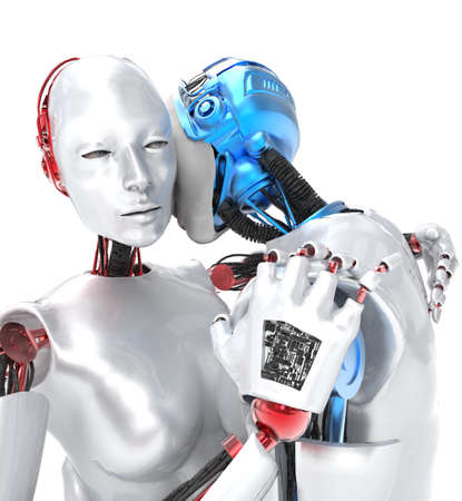 head i: Two robots in love and embracing, white background Stock Photo