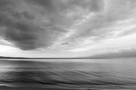 The sea in black and white picture