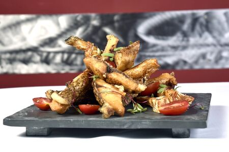 Organic Crispy fish Strips in batter Stock Photo