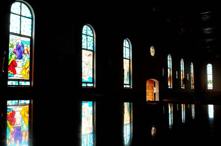 VITRALS FROM THE INSIDE OF THE CHURCH IN SILHOUETTE
