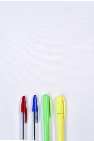 colorful ballpoint pens on white background Stock Photo