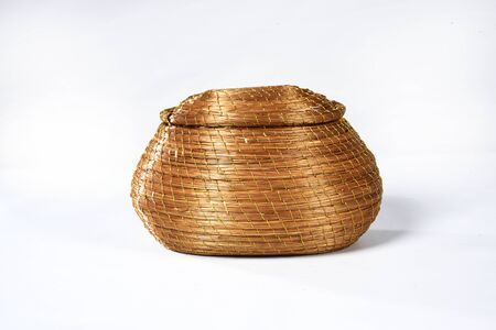 handmade basket of typical golden grass from brazil isolated on white background Zdjęcie Seryjne