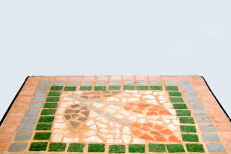colorful mosaic stone table top on white texture background with space for text. Zdjęcie Seryjne