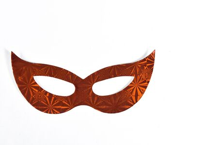 red carnival party costume mask isolated on white background with space for text Reklamní fotografie