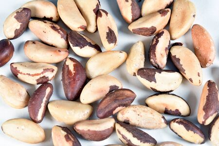 delicious and nutritious Brazilian chestnut, peeled Brazil nut isolated on white background