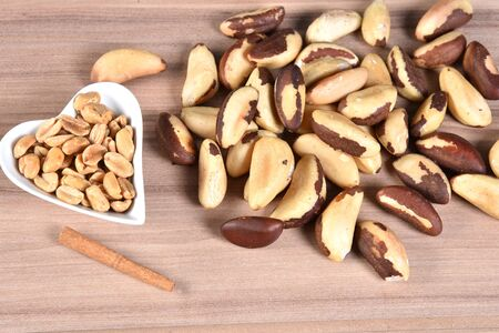 delicious and nutritious Brazilian chestnut, peeled Brazil nut isolated on white background. Reklamní fotografie