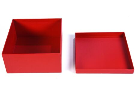 beautiful red gift box with open lid with side view and space for text on white background