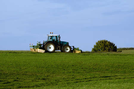 bush hog: a green tractor is mowing in autumn Stock Photo