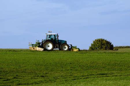 bush hog: un tractor verde est� cortando en oto�o