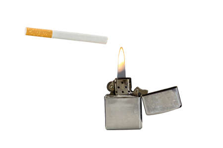 gas lighter: a cigarette and a gas lighter free cut at a white backround