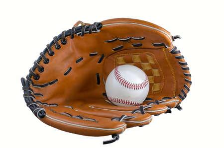 baseball and glove isolatet at white backround photo