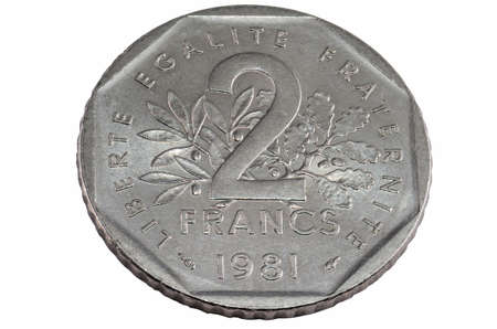 franc: two franc free cutted at white backround