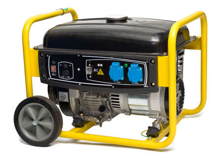 generators: Yellow-black electric AC generator isolated on white background