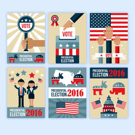 desgn: US presidential election poster desgn set. Presidential election voting concept for web and graphic design