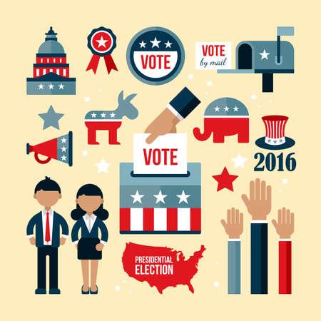 presidential: US presidential election icon set. Presidential election vote concept for web and graphic design