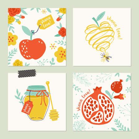 hashana: Rosh Hashana (jewish new year) greeting card set design with hand drawing apple, honey and pomegranate Illustration