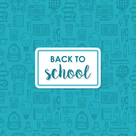 first grade: Back to school poster design with seamless line icons pattern background