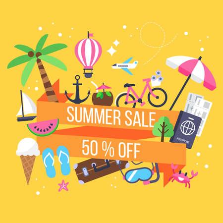 Conception de bannière de vente d'été avec des icônes pour les vacances et le tourisme Banque d'images - 63371914