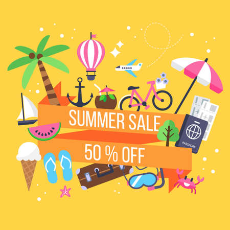 Summer sale banner design with icons for holiday vacation and tourism Illustration
