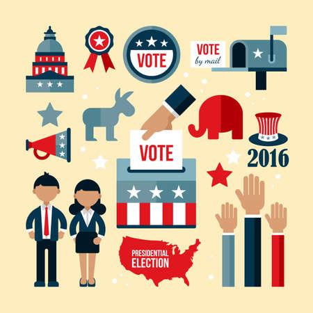 presidential: Presidential election icon set. Presidential election vote concept for web and graphic design Illustration