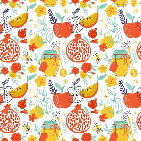 hashana: Jewish holiday Rosh Hashana seamless pattern design with apples, honey and pomegranate.